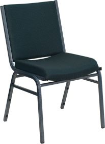HERCULES Series Heavy Duty, 3'' Thickly Padded, Green Patterned Upholstered Stack Chair [XU-60153-GN-GG]