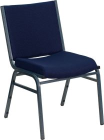 HERCULES Series Heavy Duty, 3'' Thickly Padded, Navy Blue Patterned Upholstered Stack Chair [XU-60153-NVY-GG]