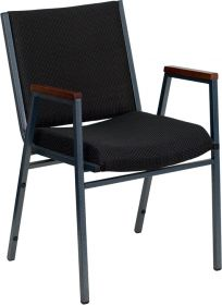 HERCULES Series Heavy Duty, 3'' Thickly Padded, Black Patterned Upholstered Stack Chair with Arms [XU-60154-BK-GG]