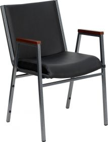 HERCULES Series Heavy Duty, 3'' Thickly Padded, Black Vinyl Upholstered Stack Chair with Arms [XU-60154-BK-VYL-GG]