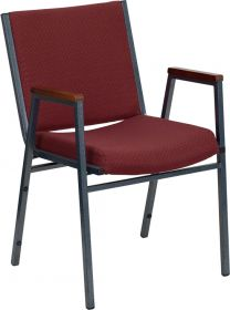 HERCULES Series Heavy Duty, 3'' Thickly Padded, Burgundy Patterned Upholstered Stack Chair with Arms [XU-60154-BY-GG]