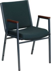HERCULES Series Heavy Duty, 3'' Thickly Padded, Green Patterned Upholstered Stack Chair with Arms [XU-60154-GN-GG]