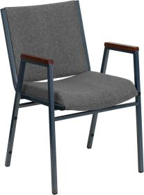 HERCULES Series Heavy Duty, 3'' Thickly Padded, Gray Upholstered Stack Chair with Arms [XU-60154-GY-GG]