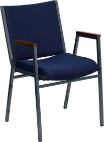 HERCULES Series Heavy Duty, 3'' Thickly Padded, Navy Patterned Upholstered Stack Chair with Arms [XU-60154-NVY-GG]