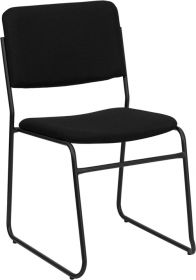 HERCULES Series 1000 lb. Capacity High Density Black Fabric Stacking Chair with Sled Base [XU-8700-BLK-B-30-GG]