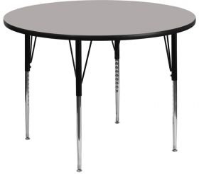48'' Round Activity Table with 1.25'' Thick High Pressure Grey Laminate Top and Standard Height Adjustable Legs [XU-A48-RND-GY-H-A-GG]