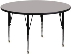 48'' Round Activity Table with 1.25'' Thick High Pressure Grey Laminate Top and Height Adjustable Preschool Legs [XU-A48-RND-GY-H-P-GG]