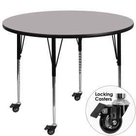 Mobile 48'' Round Activity Table with Grey Thermal Fused Laminate Top and Standard Height Adjustable Legs [XU-A48-RND-GY-T-A-CAS-GG]