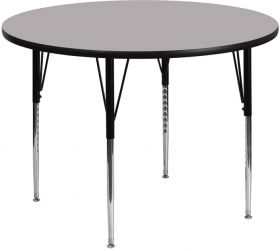 48'' Round Activity Table with Grey Thermal Fused Laminate Top and Standard Height Adjustable Legs [XU-A48-RND-GY-T-A-GG]