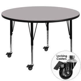 Mobile 48'' Round Activity Table with Grey Thermal Fused Laminate Top and Height Adjustable Preschool Legs [XU-A48-RND-GY-T-P-CAS-GG]