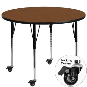 Mobile 48'' Round Activity Table with 1.25'' Thick High Pressure Oak Laminate Top and Standard Height Adjustable Legs [XU-A48-RND-OAK-H-A-CAS-GG]