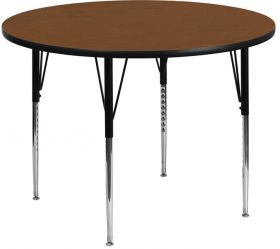 48'' Round Activity Table with 1.25'' Thick High Pressure Oak Laminate Top and Standard Height Adjustable Legs [XU-A48-RND-OAK-H-A-GG]