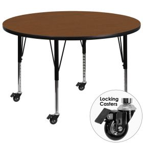 Mobile 48'' Round Activity Table with 1.25'' Thick High Pressure Oak Laminate Top and Height Adjustable Preschool Legs [XU-A48-RND-OAK-H-P-CAS-GG]