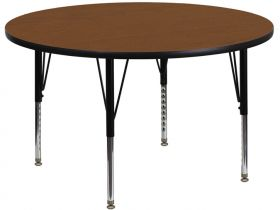 48'' Round Activity Table with 1.25'' Thick High Pressure Oak Laminate Top and Height Adjustable Preschool Legs [XU-A48-RND-OAK-H-P-GG]