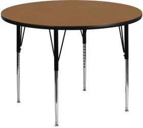 48'' Round Activity Table with Oak Thermal Fused Laminate Top and Standard Height Adjustable Legs [XU-A48-RND-OAK-T-A-GG]
