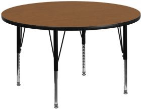 48'' Round Activity Table with Oak Thermal Fused Laminate Top and Height Adjustable Preschool Legs [XU-A48-RND-OAK-T-P-GG]