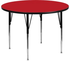 48'' Round Activity Table with 1.25'' Thick High Pressure Red Laminate Top and Standard Height Adjustable Legs [XU-A48-RND-RED-H-A-GG]