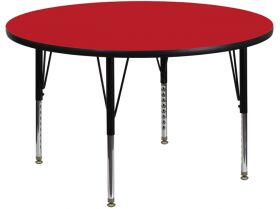48'' Round Activity Table with 1.25'' Thick High Pressure Red Laminate Top and Height Adjustable Preschool Legs [XU-A48-RND-RED-H-P-GG]