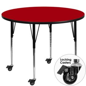 Mobile 48'' Round Activity Table with Red Thermal Fused Laminate Top and Standard Height Adjustable Legs [XU-A48-RND-RED-T-A-CAS-GG]