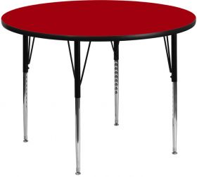 48'' Round Activity Table with Red Thermal Fused Laminate Top and Standard Height Adjustable Legs [XU-A48-RND-RED-T-A-GG]