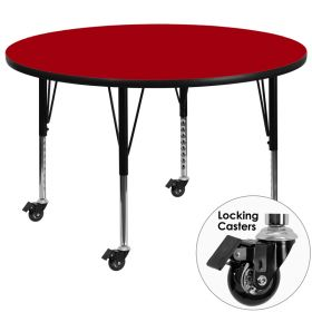 Mobile 48'' Round Activity Table with Red Thermal Fused Laminate Top and Height Adjustable Preschool Legs [XU-A48-RND-RED-T-P-CAS-GG]