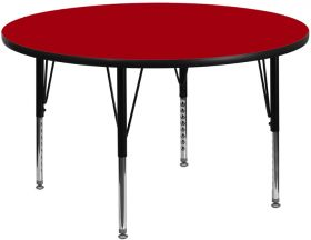 48'' Round Activity Table with Red Thermal Fused Laminate Top and Height Adjustable Preschool Legs [XU-A48-RND-RED-T-P-GG]