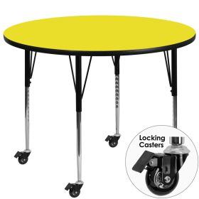 Mobile 48'' Round Activity Table with 1.25'' Thick High Pressure Yellow Laminate Top and Standard Height Adjustable Legs [XU-A48-RND-YEL-H-A-CAS-GG]