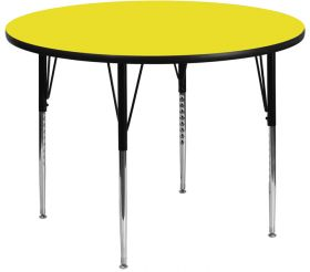 48'' Round Activity Table with 1.25'' Thick High Pressure Yellow Laminate Top and Standard Height Adjustable Legs [XU-A48-RND-YEL-H-A-GG]