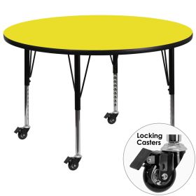 Mobile 48'' Round Activity Table with 1.25'' Thick High Pressure Yellow Laminate Top and Height Adjustable Preschool Legs [XU-A48-RND-YEL-H-P-CAS-GG]