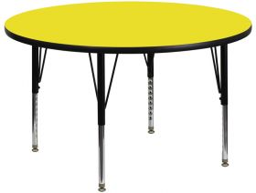 48'' Round Activity Table with 1.25'' Thick High Pressure Yellow Laminate Top and Height Adjustable Preschool Legs [XU-A48-RND-YEL-H-P-GG]