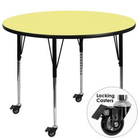 Mobile 48'' Round Activity Table with Yellow Thermal Fused Laminate Top and Standard Height Adjustable Legs [XU-A48-RND-YEL-T-A-CAS-GG]
