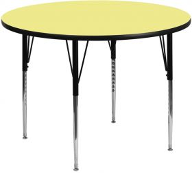 48'' Round Activity Table with Yellow Thermal Fused Laminate Top and Standard Height Adjustable Legs [XU-A48-RND-YEL-T-A-GG]
