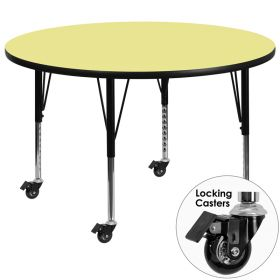 Mobile 48'' Round Activity Table with Yellow Thermal Fused Laminate Top and Height Adjustable Preschool Legs [XU-A48-RND-YEL-T-P-CAS-GG]