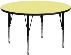 48'' Round Activity Table with Yellow Thermal Fused Laminate Top and Height Adjustable Preschool Legs [XU-A48-RND-YEL-T-P-GG]