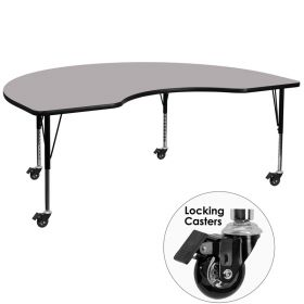 Mobile 48''W x 96''L Kidney Shaped Activity Table with Grey Thermal Fused Laminate Top and Height Adjustable Preschool Legs [XU-A4896-KIDNY-GY-T-P-CAS-GG]