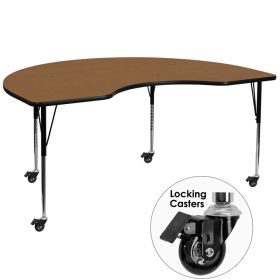 Mobile 48''W x 96''L Kidney Shaped Activity Table with Oak Thermal Fused Laminate Top and Standard Height Adjustable Legs [XU-A4896-KIDNY-OAK-T-A-CAS-GG]