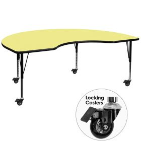 Mobile 48''W x 96''L Kidney Shaped Activity Table with Yellow Thermal Fused Laminate Top and Height Adjustable Preschool Legs [XU-A4896-KIDNY-YEL-T-P-CAS-GG]