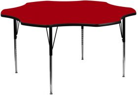 60'' Flower Shaped Activity Table with Red Thermal Fused Laminate Top and Standard Height Adjustable Legs [XU-A60-FLR-RED-T-A-GG]