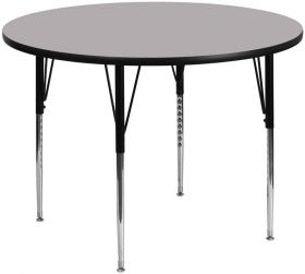 60'' Round Activity Table with Grey Thermal Fused Laminate Top and Standard Height Adjustable Legs [XU-A60-RND-GY-T-A-GG]