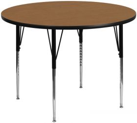 60'' Round Activity Table with Oak Thermal Fused Laminate Top and Standard Height Adjustable Legs [XU-A60-RND-OAK-T-A-GG]