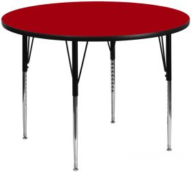 60'' Round Activity Table with Red Thermal Fused Laminate Top and Standard Height Adjustable Legs [XU-A60-RND-RED-T-A-GG]