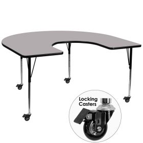 Mobile 60''W x 66''L Horseshoe Shaped Activity Table with Grey Thermal Fused Laminate Top and Standard Height Adjustable Legs [XU-A6066-HRSE-GY-T-A-CAS-GG]
