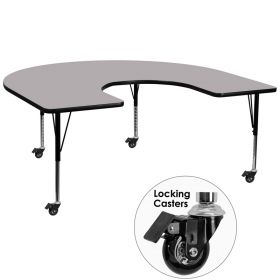 Mobile 60''W x 66''L Horseshoe Shaped Activity Table with Grey Thermal Fused Laminate Top and Height Adjustable Preschool Legs [XU-A6066-HRSE-GY-T-P-CAS-GG]
