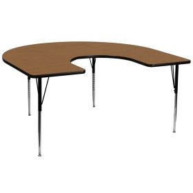 60''W x 66''L Horseshoe Shaped Activity Table with Oak Thermal Fused Laminate Top and Standard Height Adjustable Legs [XU-A6066-HRSE-OAK-T-A-GG]