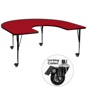 Mobile 60''W x 66''L Horseshoe Shaped Activity Table with Red Thermal Fused Laminate Top and Height Adjustable Preschool Legs [XU-A6066-HRSE-RED-T-P-CAS-GG]