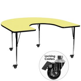 Mobile 60''W x 66''L Horseshoe Shaped Activity Table with Yellow Thermal Fused Laminate Top and Standard Height Adjustable Legs [XU-A6066-HRSE-YEL-T-A-CAS-GG]