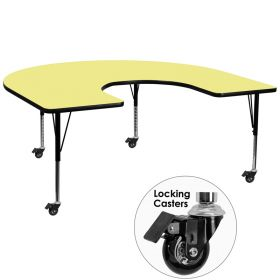 Mobile 60''W x 66''L Horseshoe Shaped Activity Table with Yellow Thermal Fused Laminate Top and Height Adjustable Preschool Legs [XU-A6066-HRSE-YEL-T-P-CAS-GG]
