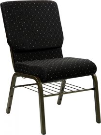 HERCULES Series 18.5''W Black Dot Patterned Fabric Church Chair with 4.25'' Thick Seat, Book Rack - Gold Vein Frame [XU-CH-60096-BK-BAS-GG]
