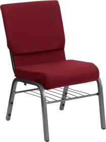 HERCULES Series 18.5''W Burgundy Fabric Church Chair with 4.25'' Thick Seat, Book Rack - Silver Vein Frame [XU-CH-60096-BY-SILV-BAS-GG]
