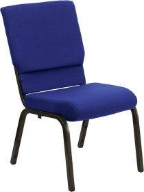 HERCULES Series 18.5''W Navy Blue Fabric Stacking Church Chair with 4.25'' Thick Seat - Gold Vein Frame [XU-CH-60096-NVY-GG]